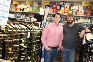 Jason Gold, Owner, Gold's Wine and Spirits with employee Chris Reinmuth.
