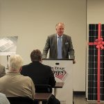John Parke, President, CDI, welcoming guests to the ribbon cutting.