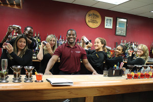 All current students in the Bartender's Academy unless noted: Veronica Nokuni; Derrick Edmondson; Jazmin Corraol; Peter Lloyd Clayton, Owner, Bartender's Academy; Gaby Torelli; Naomi Robinson; Priscilla Hooker.