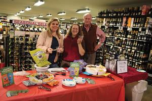 Sarah Wadle, Marketing, Angelini Wine; Shore Discount Liquors Store Manager Jill Merola; and Matthew Carpenter, Representative, Angelini Wine.