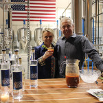 Cindy and Bill Dorsey, Partners in Waypoint Spirits, mixing Bloody Marys.
