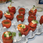 Genias served his winning Bloody Mary in a plum tomato.