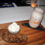 """Dessert and cocktail pairing, featuring house made maple bacon chocolate chip cookies with vanilla ice cream with Martini's """"Maple Milkshake."""""""