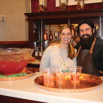 Jackie Blau, Market Manager, Pernod Ricard and Dimitrios Zahariadis, United States Bartenders Guild Connecticut (USBG CT) Chapter President and Owner of Highland Brass Co., mixing cocktails using Absolut Elyx.