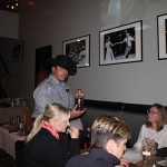 Ulino providing diners at Camp's Restaurant a sample of Pendleton.