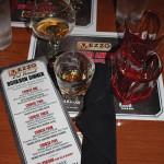 Food menu and bourbon tasting mat.