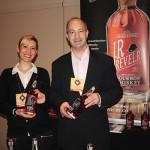 David Eber, President, Santa Maria Imports; Angelica Bianchetti, Brand Ambassador, Santa Maria Imports, pouring J.R. Revelry Bourbon.