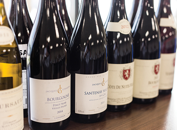 A lineup of Michael Corso selections: Jacques Girardin Bourgogne Pinot Noir, Jacques Girardin Santenay 1er Cru Clos Rousseau; Domaine Gilles Cote de Nuit–Village; Domaine Gilles Bourgogne Pinot Noir; and Domaine Gille Vosne Romanee.