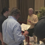 David Baker of Connecticut's Litchfield Distillers discussing the brand launch in Rhode Island. The product line, called Batchers' series, includes five spirits: Bourbon Whiskey, Double Barreled Bourbon Whiskey, Bourbon Whiskey Port Cask Finish, Vodka and Gin.