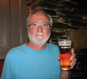 "Jack Kenny in Cornwall, UK, this past September holding a ""great session ale pumped from the cask"""