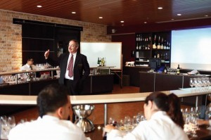 In the Wine and Spirits Tasting Lab in the Center for Culinary Excellence at Johnson & Wales University's Providence campus, students focus on sensory evaluation and the relationship between food, wine and other beverages. Edward Korry is shown teaching.