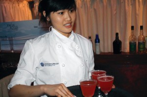 Shown is a student from the Johnson & Wales University team at May 2012's Iron Tender/Bar Wars competition. The event was sponsored by Rhode Island's Chapter of the United States Bartenders' Guild and held at Twin River Casino.