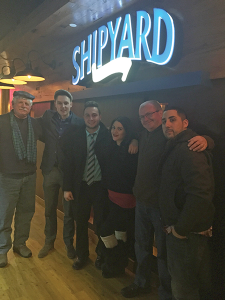 Rick Buckley; Jameson U.S. Brand Ambassador Jamie Winters; Nick Tartaglione; Alexis Forte; John Anthony; and Ray Vezina at The Shipyard Pub at Twin River Casino.