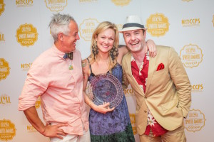 Jason Crawley (left), Brooke Arthur, and Philip Duff (right) celebrate Brooke's distinction as Best American Brand Ambassador at the 2015 Tales of the Cocktail Spirited Awards at the Sheraton Hotel in New Orleans on July 18, 2015.