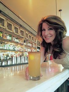 Justine Bassani with Spiced Moonshine Lemonade