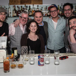 "Post-competition celebration at Luxe Modern Wine & Cocktails. Bartenders Vincenzo Anastasia, James Menite, Megan Lambert, Douglas Tirola of ""Hey Bartender"" film fame, Jon Kraus, Jeff Marron and Carlos Garcia. Photo by Chris Almeida."