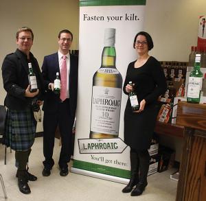 Master Brand Ambassador Simon Brooking; Mike DePasqua, Connecticut Territory Manager, Beam, Inc.; and Sarah Alokones, Divisional Sales Manager at Brescome Barton, Inc.