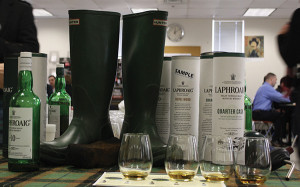 A touch of Islay in Connecticut, the tasting line and props included the burning of peat to invoke the scent of the famed island.