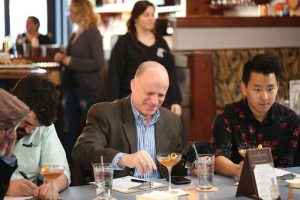 Judges Ben Terry, Craft Brand Manager, Origin Beverage Co.; Steve Foohey, State Sales Manager, Brown-Forman;and Parker Luthman, Bartender, The Eddy and 2017 RI Manhattan Experience winner.