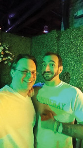 Guest Columnist Anthony DeSerio with Diageo World Class Champion 2014 Charles Jolie at the Diageo Backyard Barbeque Party at Tales of the Cocktail.