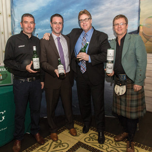 "Laphroaig Master Distiller John Campbell; Connecticut's ""Protector of the Peat"" Mike DePasqua; CDI's On Premise Division Manager Mike Evans; and Laphroaig Brand Ambassador Simon Brooking. Photo by Chris Almeida."