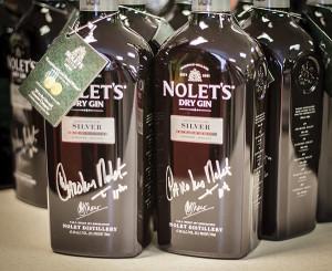Signed bottles of Nolet's Gin.