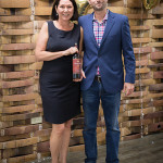 Michelle Ortago, Business Manager, CDI; Michael Gilbert, Division Manager, Trinchero Family Estates, with Ménage à Trois Silk.