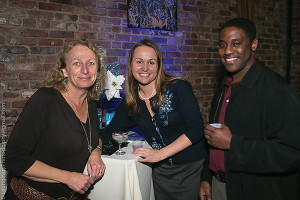 CDI's Martine Warner and Tammy Henegen with Peter Clayton, owner of Bartenders Academy in Waterbury.