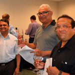 Yogesh Amin, Guilford Wine Co., Guilford; Ajit Patel, Odd Bin's, New Haven; and Sanjay Patel, College Wine, New Haven.