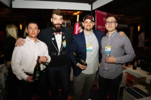 Shown at the Sun WineFest are Sales Representatives Branden Hylwa and Hunter, President Matt Murphy, and Kheder Hassounm, owner of Safita Restaurant in Fairfield, recently named Best Middle-Eastern Restaurant by Connecticut Magazine. Photo by Chris Almeida.