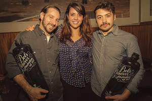 All in a day's work. Ferreira at The Great Bols Genever Cocktail Competition, where she hosted and judged. She is flanked by runner up Vito Lantz and competition winner Carlos Garcia, each members of the USBG RI. The event was held in Providence in November.