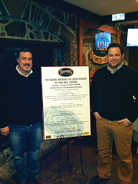 OAK HILL TAVERN BEER DINNER FEATURES FOUNDERS BREWING COMPANY