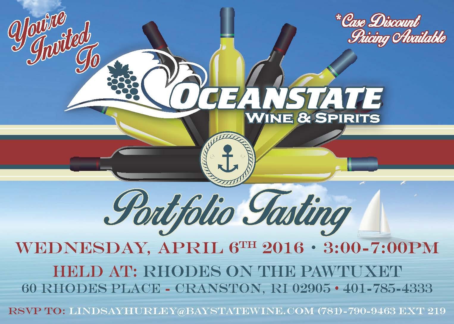 April 6, 2016: Trade Event/Oceanstate Wine & Spirits Portfolio Tasting