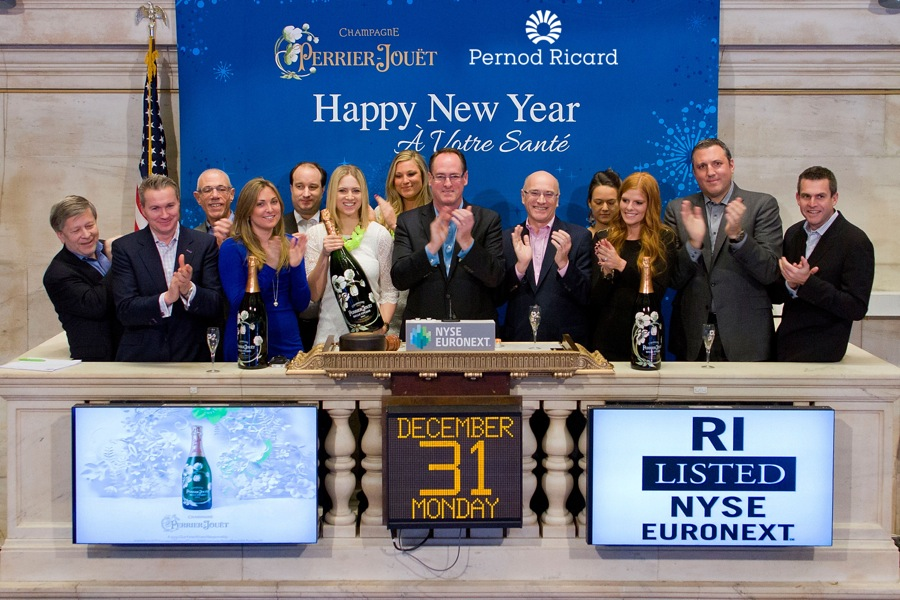 New Year's Eve: Pernod Ricard USA & Perrier Jouet Ring NYSE Closing Bell