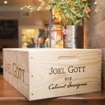 A Joel Gott wine box display.