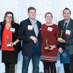 Farm to Fork Excellence in Sustainability winners Jake and Kelly Ann Rojas, Chef/Owners, Tallulah; Chef/Owner Champe Speidel of Persimmon and his wife Lisa Speidel; and Chef/Owner Derek Wagner of Nick's on Broadway with his wife Kayde Wagner.