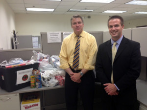Pictured are Dan Miller, Trade Development Manager from Brescome Barton and Kevin Glah, CT State Manager from Bacardi, along with donations made on May 31, 2013.