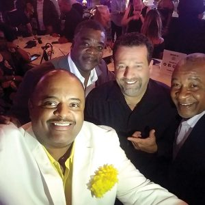 Bruno Ceniccola (middle) at Foxwoods Casino's High Rollers VIP Lounge with Journalist Roland Martin, Baseball Hall of Fame's Eddie Murray and Ozzie Smith on August 7, where the Piu Facile wines were served as part of the Jeffrey Osborne Celebrity Golf Classic.