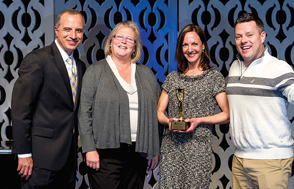 Media Partner of the Year Recipient, The Rhode Island Beverage Journal. Staff from the family-owned company includes Laurie Buick, Director of Wholesaler Services; Dana Slone, Editor and Associate Publisher; and Brian Slone, Subscriptions and Retail Services Manager. The Slone siblings are part of the third generation of publishing. They are shown with 2016 RIHA Chairman Bahjat Shariff (far left).