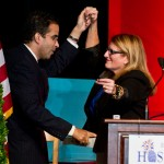 RI Hospitality Association's President and CEO Dale Venturini welcomes Providence Mayor Angel Taveras to the stage with a little salsa dancing.