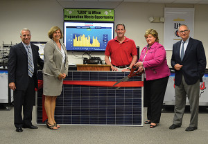 David Heller, President, Allan S. Goodman; Tracy Babbidge, Bureau Chief, Department of Energy and Environmental Protection; Senator Paul Doyle; Marcia Leclerc, Mayor of East Hartford; and  Paul Ahern, President, EnterSolar.