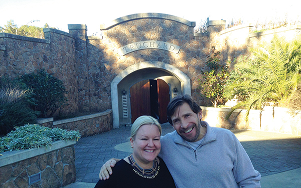 Owner Anne Sage of Sage Cellars, and Anthony Truchard of Truchard Vineyards, Napa, CA 2015.