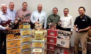 Mark Wahlgren, General Manager, McLaughlin & Moran; Chuck Borkoski, VP, Marketing of McLaughlin & Moran; Derrick Ransford,  District Manager for RI and Connecticut, Shiner Brewery; Ed Mangine, Northeast Region Manager,  The Gambrinus Company; Terry Moran, President, McLaughlin & Moran; Paul Moran, Chairman, McLaughlin & Moran;  Charlie Paulette, Chief Sales and Marketing Officer, The Gambrinus Company.