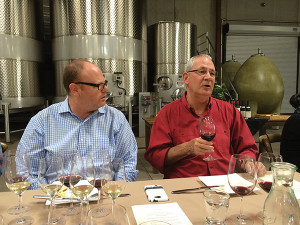 Paul Burne, Key Account Manager, Slocum & Sons with David Ramey, Owner and Winemaker, Ramey Wine Cellars.