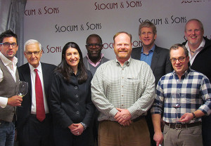 Noah King-Smith, Key Account Manager; Lester Eber CEO; Wendy Eber, President; Chris Williams, Regional Manager; Paul Burne, Key Account Manager; all of Slocum & Sons; Laurent Drouhin of Maison Joseph Drouhin; Alex Meier-Tomkins, Key Account Manager and John Slocum, General Manager, both of Slocum & Sons
