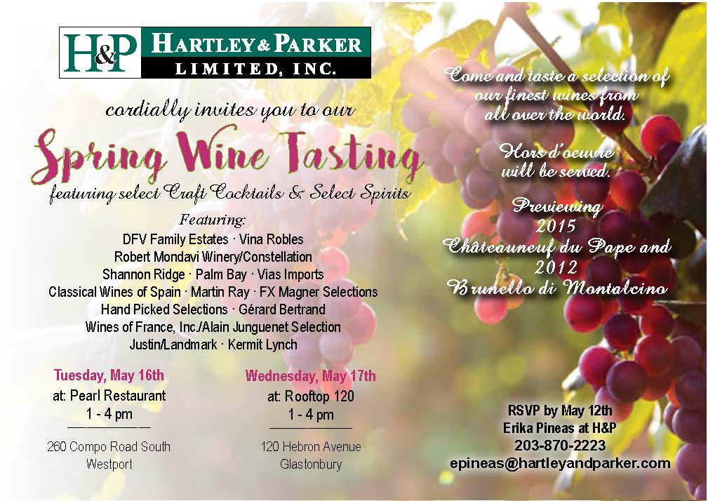 May 16, 2017: (Trade Only) Hartley & Parker Spring Wine Show Westport