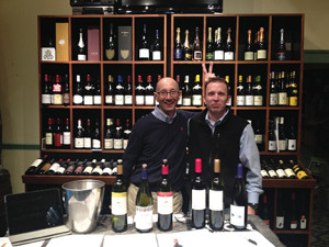 Fred Argilagos of Thames River Wine and Spirits gives Cellar Fine Wines' Rich Veilleux bunny ears.