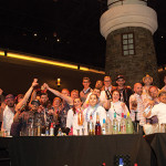 Competitors and judges gather onstage at the Lighthouse Bar at Twin River Casino.