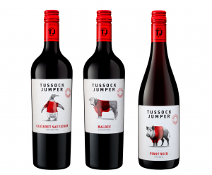 Tussock Jumper Cabernet Sauvignon 2020, Tulum Valley, San Juan, Argentina; Tussock Jumper Malbec 2020, Tulum Valley, San Juan, Argentina; and Tussock Jumper Pinot Noir 2019, a blend of grapes sourced from Gascony, Languedoc and Loire Valley, France.