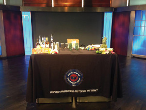 The USBG branded table  on the set of NBC Connecticut.
